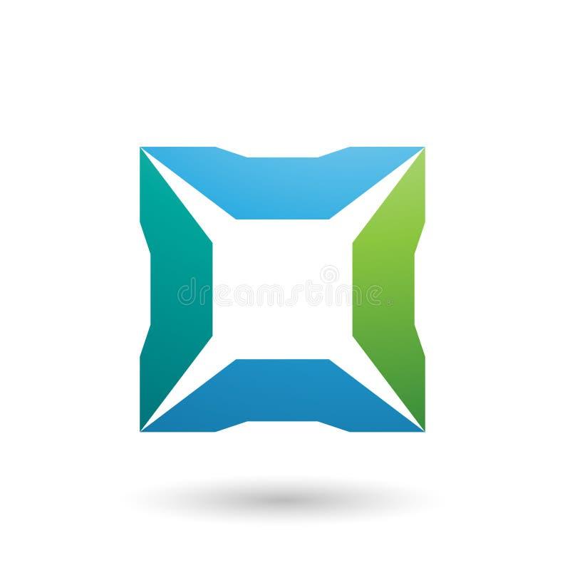 Голубой и зеленый квадрат с иллюстрацией вектора шипов бесплатная иллюстрация
