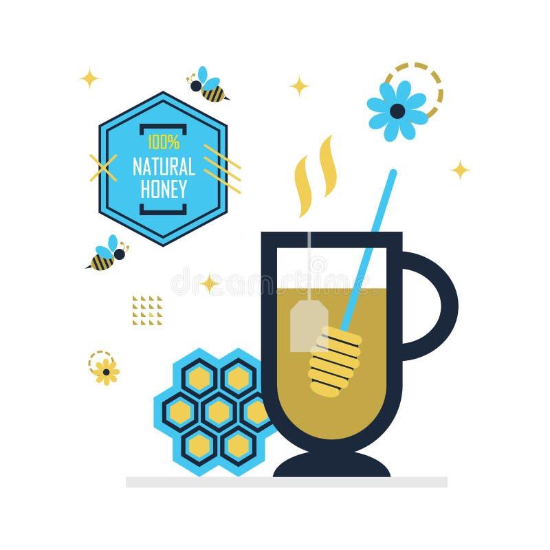 Голубой и золотой горячий чай меда со значками эмблемы меда 100 процентов естественными иллюстрация вектора