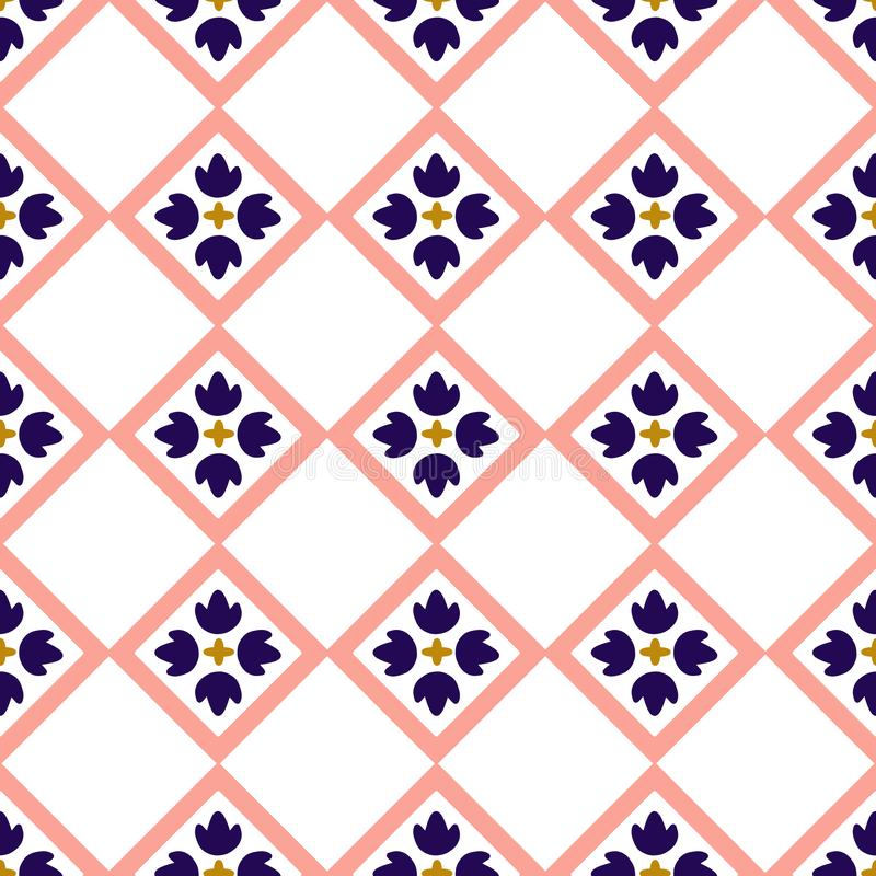 Голубой и розовый дизайн плитки в безшовной картине иллюстрация вектора