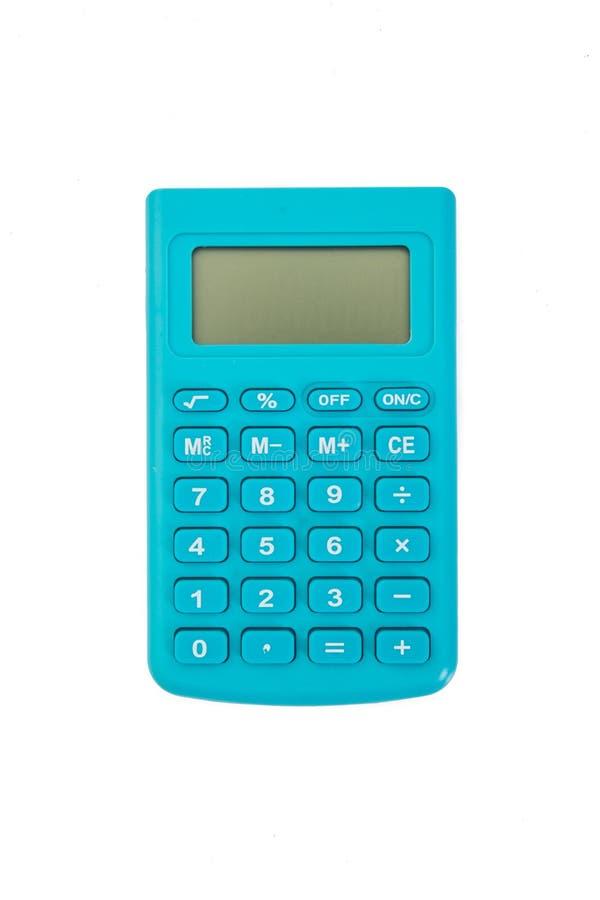 Голубой калькулятор с белой предпосылкой изолировано стоковые фото