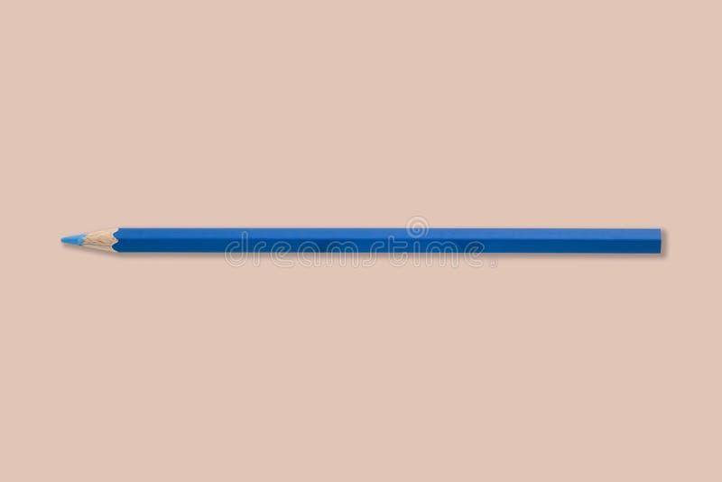 Голубой карандаш цвета на белой предпосылке стоковое фото rf