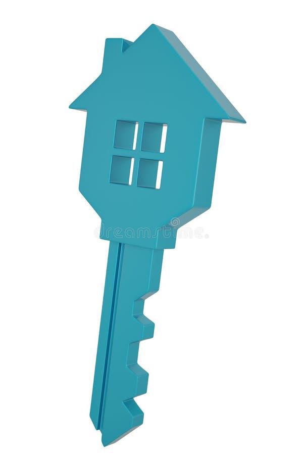 Голубой ключ дома изолированный на белой иллюстрации предпосылки 3D иллюстрация вектора