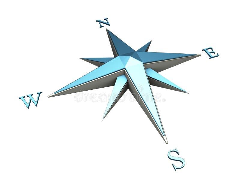 голубой компас иллюстрация вектора