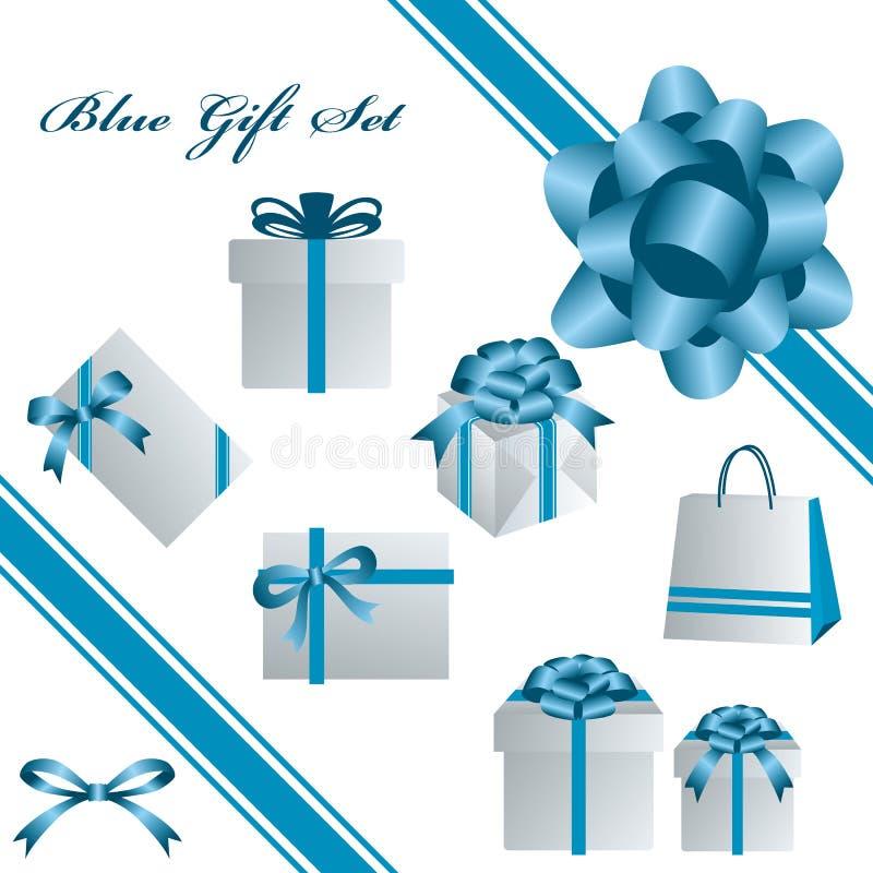 голубой комплект подарка иллюстрация штока