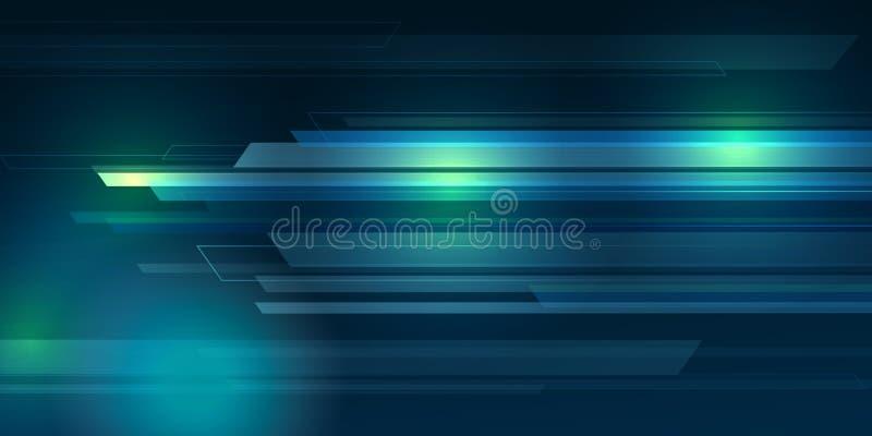 Голубой конспект предпосылки цвета с линиями освещения цифровой концепцией иллюстрация вектора