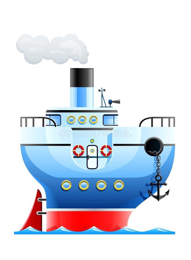 голубой корабль иллюстрация вектора