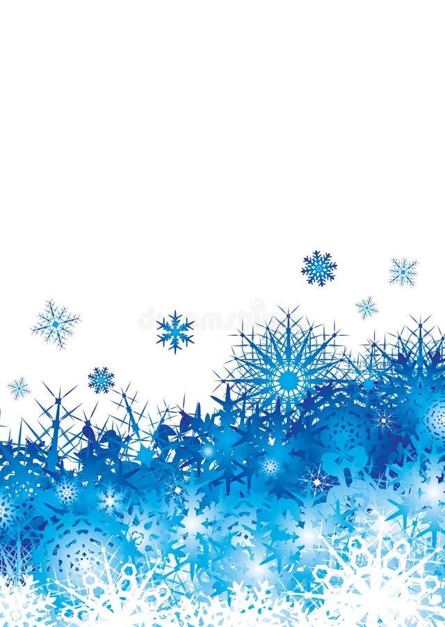 голубой космос снежинки кучи иллюстрация вектора
