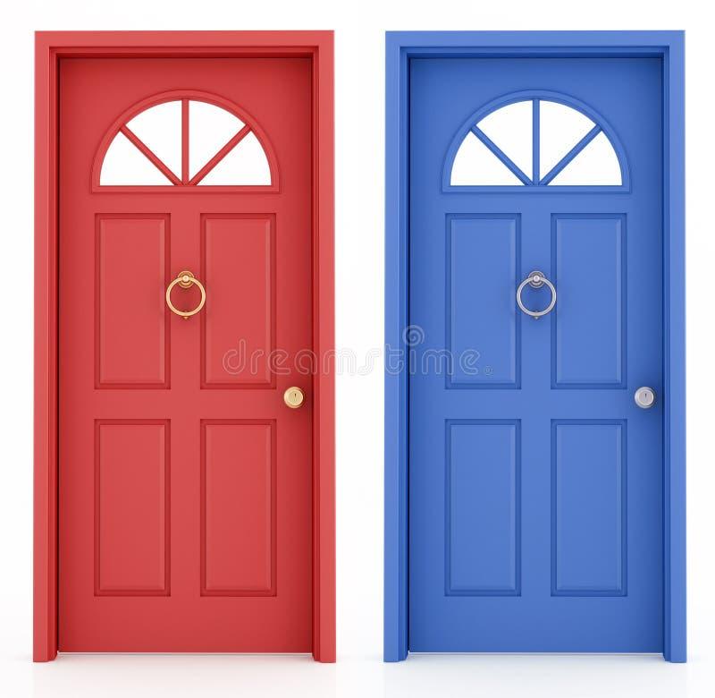 голубой красный цвет входа двери иллюстрация вектора