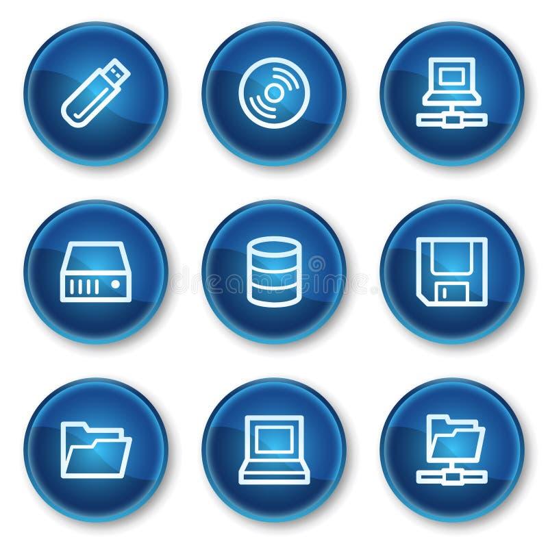 голубой круг кнопок управляет сетью хранения икон иллюстрация штока