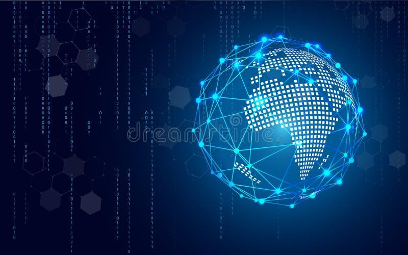 Голубой круг технологии и предпосылка компьютерных наук абстрактная с матрицей голубого и бинарного кода Дело и соединение иллюстрация штока