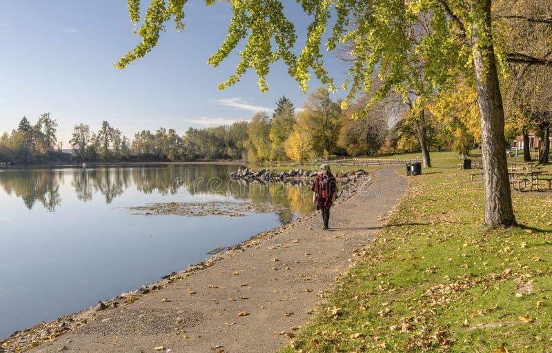 Голубой ландшафт Орегон осени парка озера стоковые фотографии rf