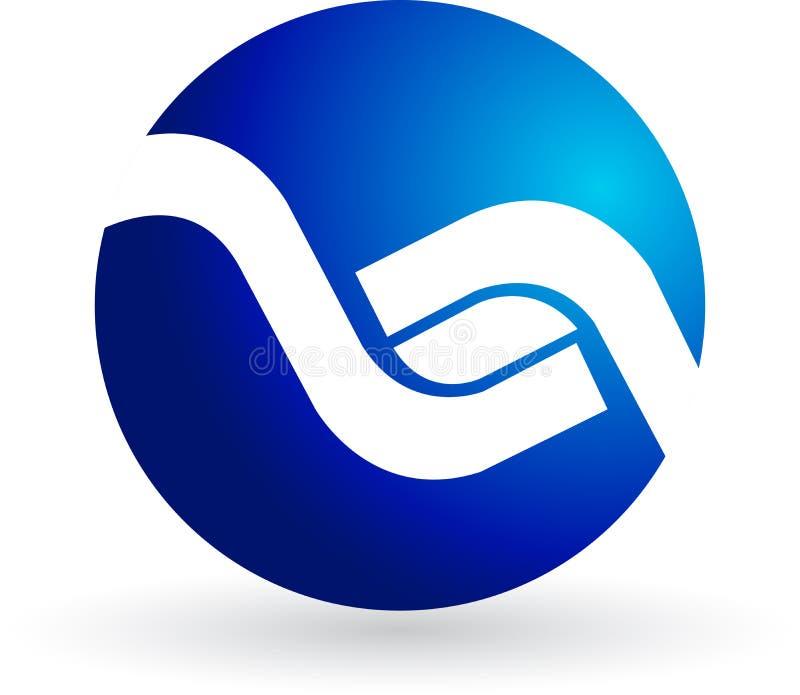 голубой логос иллюстрация вектора