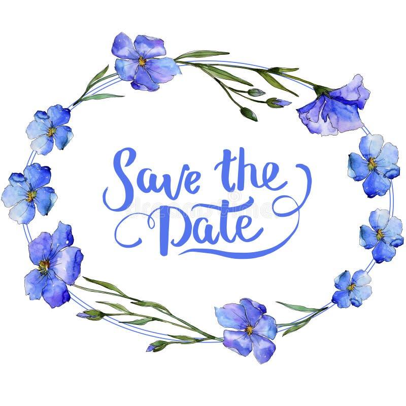 голубой льнен Флористический ботанический цветок Квадрат орнамента границы рамки бесплатная иллюстрация