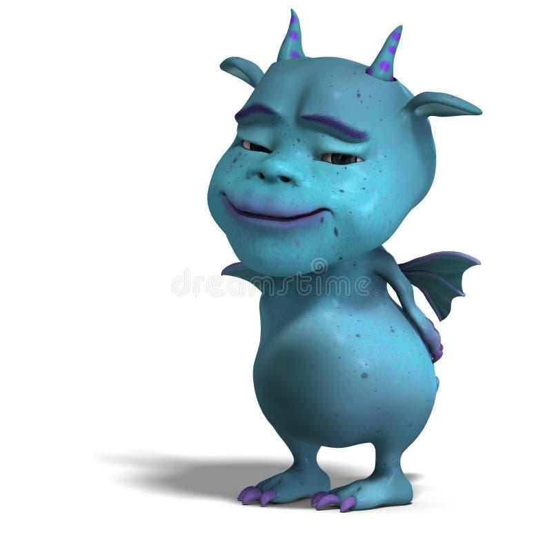 голубой милый дракон маленький toon дьявола иллюстрация штока