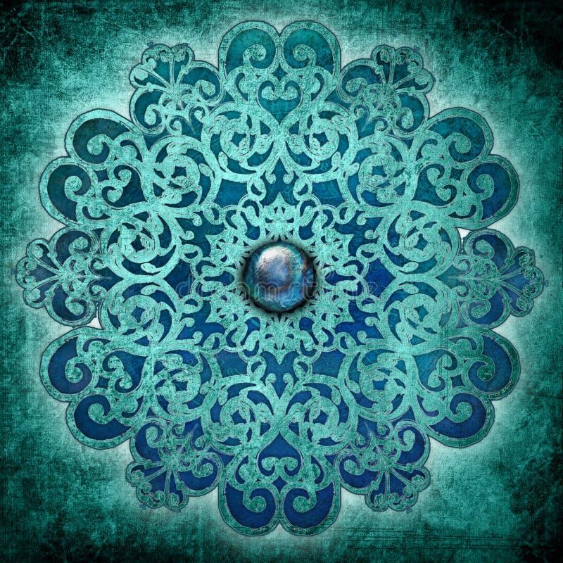 голубой мир мандала иллюстрация вектора
