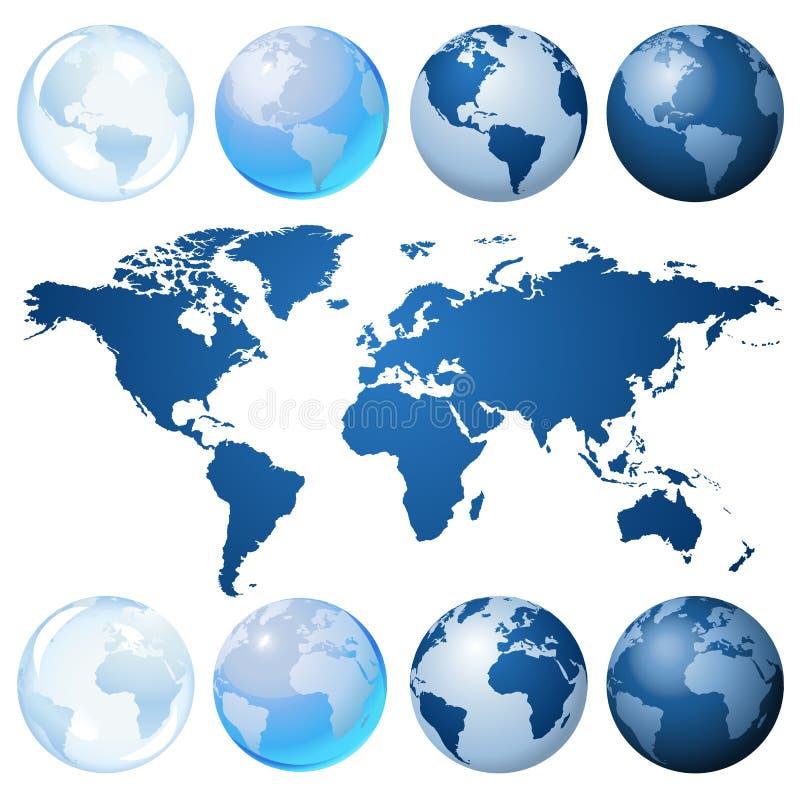 голубой набор глобуса иллюстрация штока