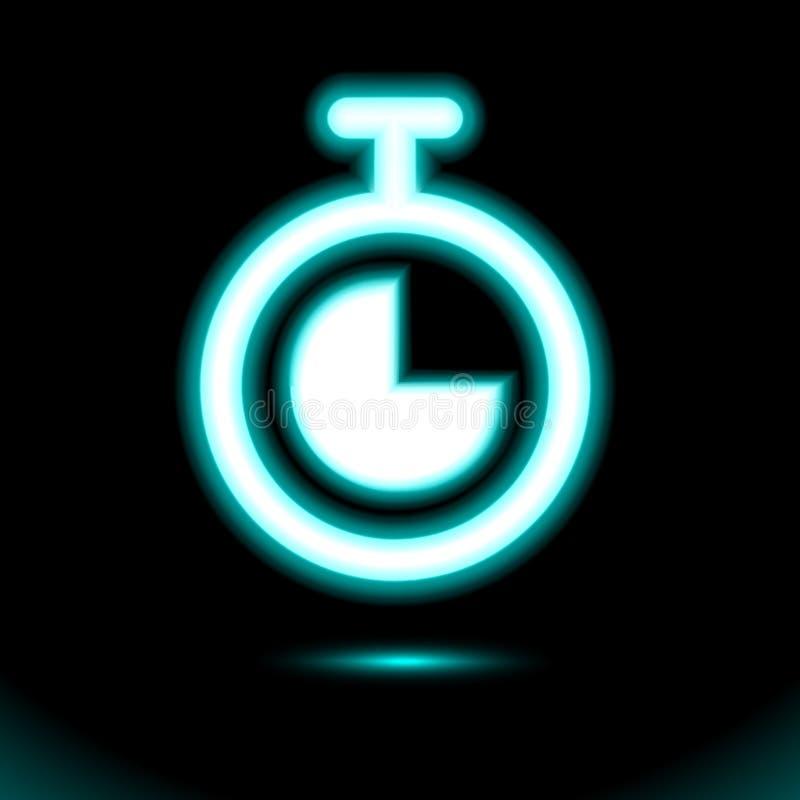 Голубой неоновый секундомер, значок хронометра неоновый Простой свет кнопки знака, символ для дизайна на черной предпосылке Дневн иллюстрация штока