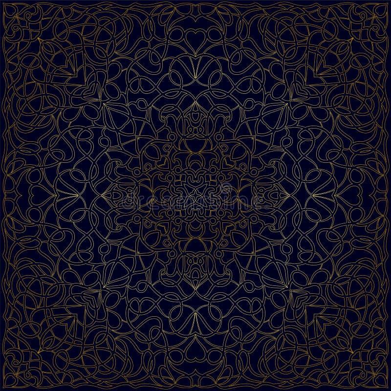 Голубой носовой платок с золотым орнаментом на темно-синей предпосылке бесплатная иллюстрация