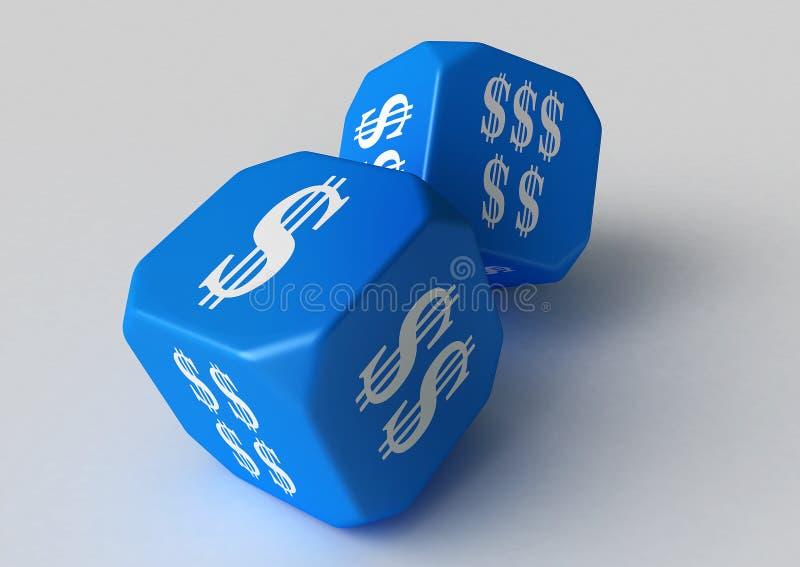 голубой обозначенный доллар плашек иллюстрация вектора
