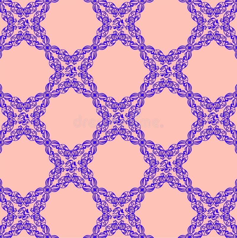 Голубой орнамент на розовой предпосылке иллюстрация штока