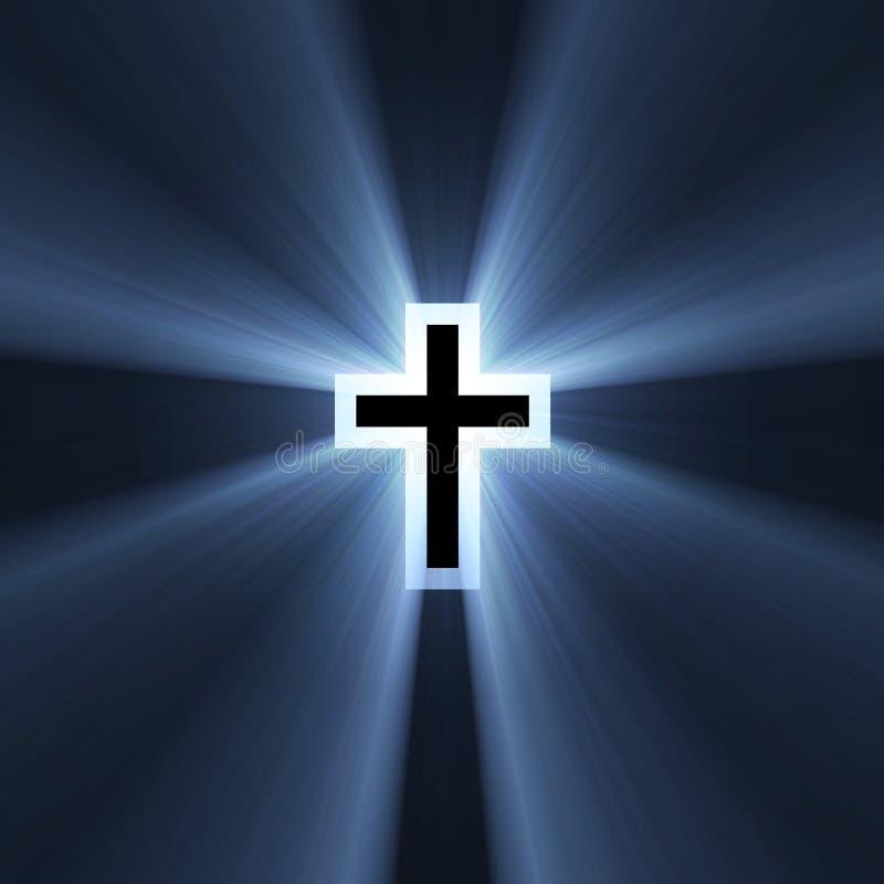 голубой перекрестный двойной символ света пирофакела иллюстрация вектора