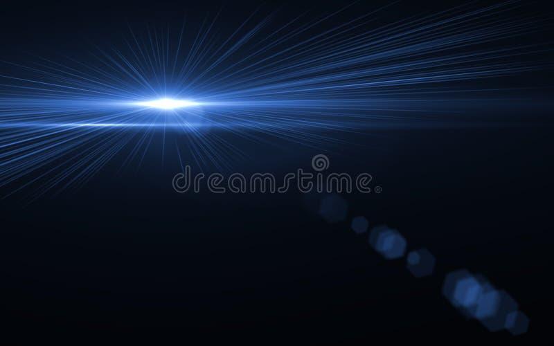 Голубой пирофакел объектива числа с ярким светом в черной предпосылке иллюстрация вектора