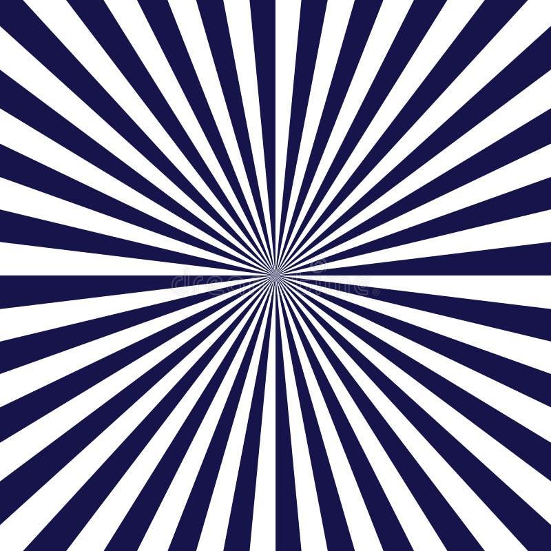 Голубой плакат лучей Популярная предпосылка взрыва звезды луча Темно-синая и белая абстрактная текстура с sunburst, пирофакелом,  иллюстрация штока