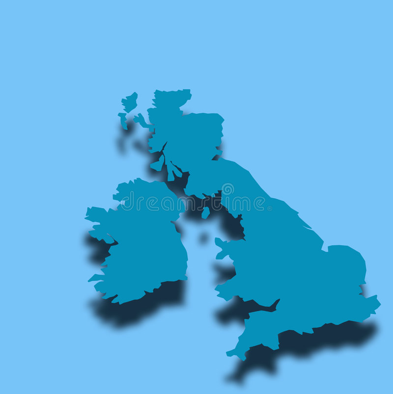 голубой план Великобритания карты иллюстрация штока