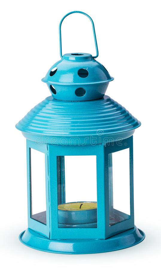 Голубой подсвечник в форме электрофонаря стоковая фотография
