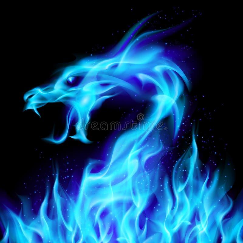 голубой пожар дракона иллюстрация вектора
