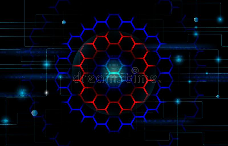 Голубой полигон с иллюстрацией вектора предпосылки технологии нововведения binay кода футуристической иллюстрация вектора