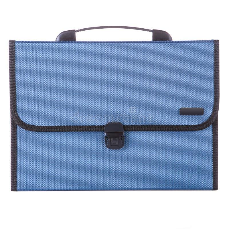Голубой портфель пластмассы для документов, портфель закрыл, белая предпосылка стоковые изображения rf