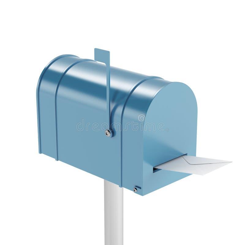 Голубой почтовый ящик с почтой иллюстрация штока