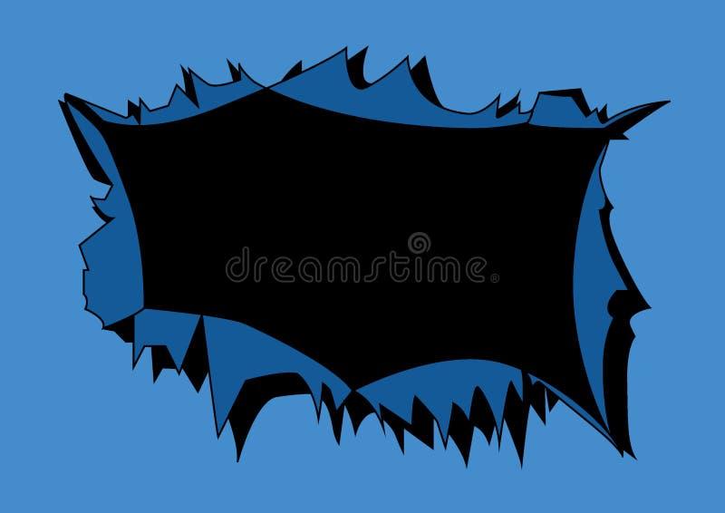 Голубой разрыв предпосылки в черную предпосылку иллюстрация вектора