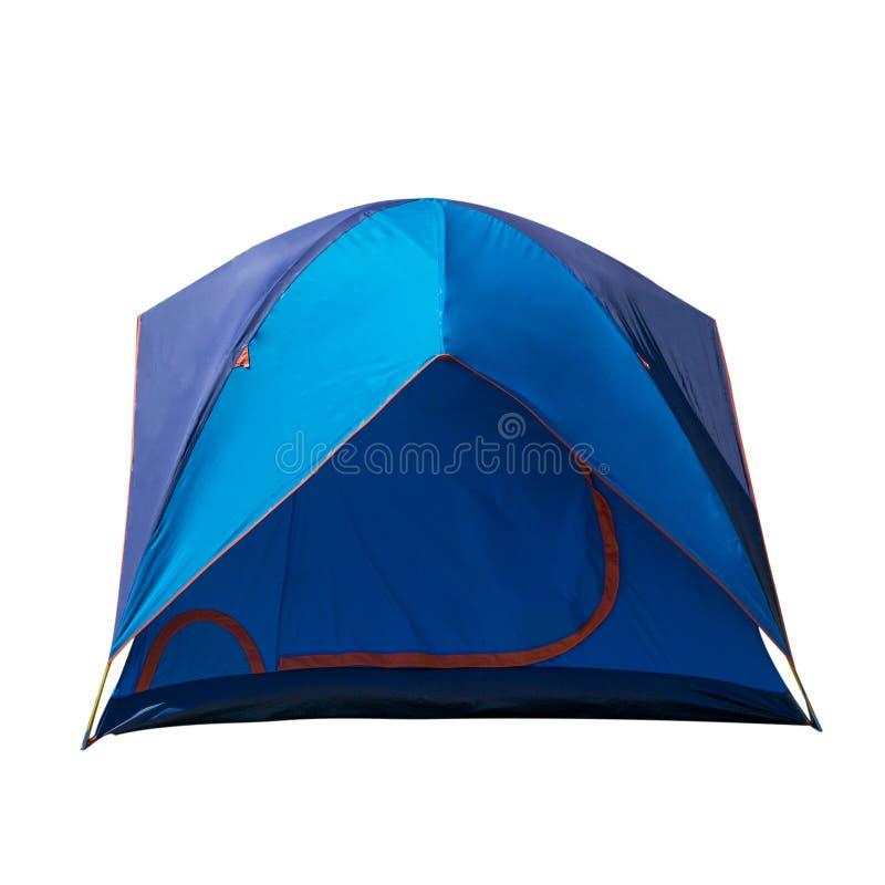 Голубой располагаясь лагерем шатер изолированный на белой предпосылке, шатер купола, располагаясь лагерем оборудование стоковые изображения rf