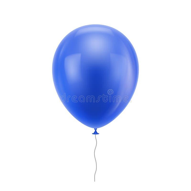 Голубой реалистический воздушный шар иллюстрация штока