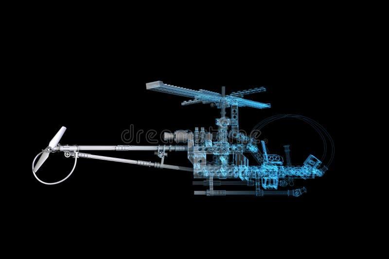 голубой рентгеновский снимок игрушки вертолета 3d иллюстрация вектора