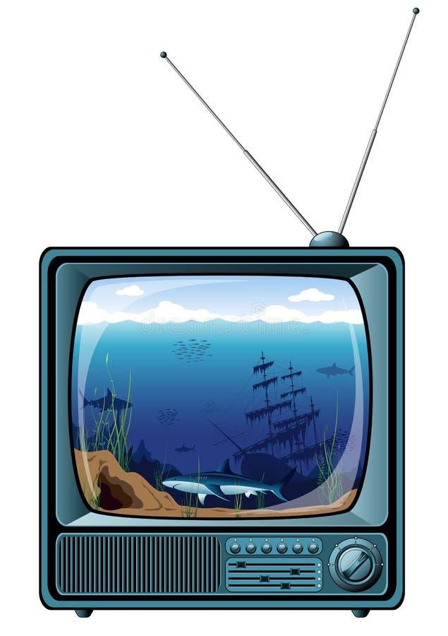 голубой ретро взгляд tv моря иллюстрация штока