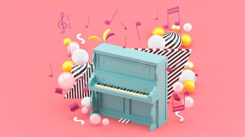 Голубой рояль окружен примечаниями и красочными шариками на розовой предпосылке иллюстрация вектора