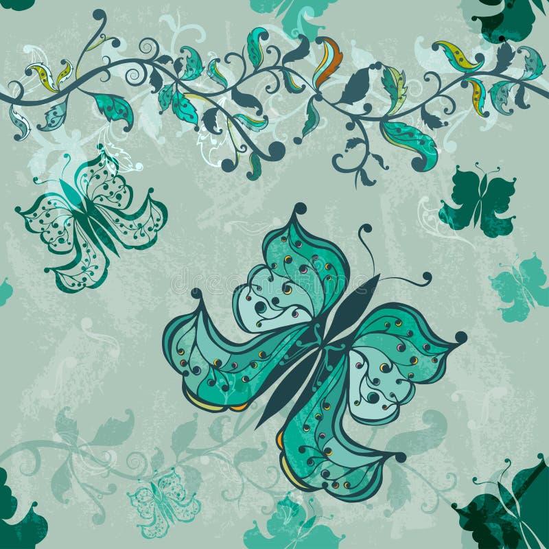 голубой рука нарисованная бабочкой безшовная стоковые фото