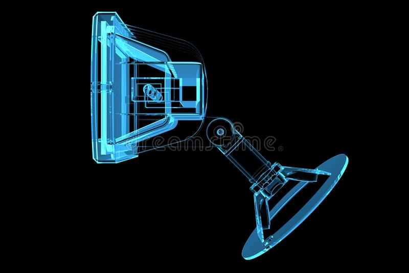голубой светильник 3d прозрачный иллюстрация вектора
