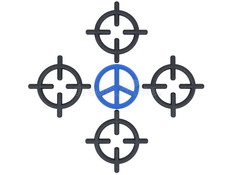 Голубой символ мира между объемом снайперской винтовки бесплатная иллюстрация
