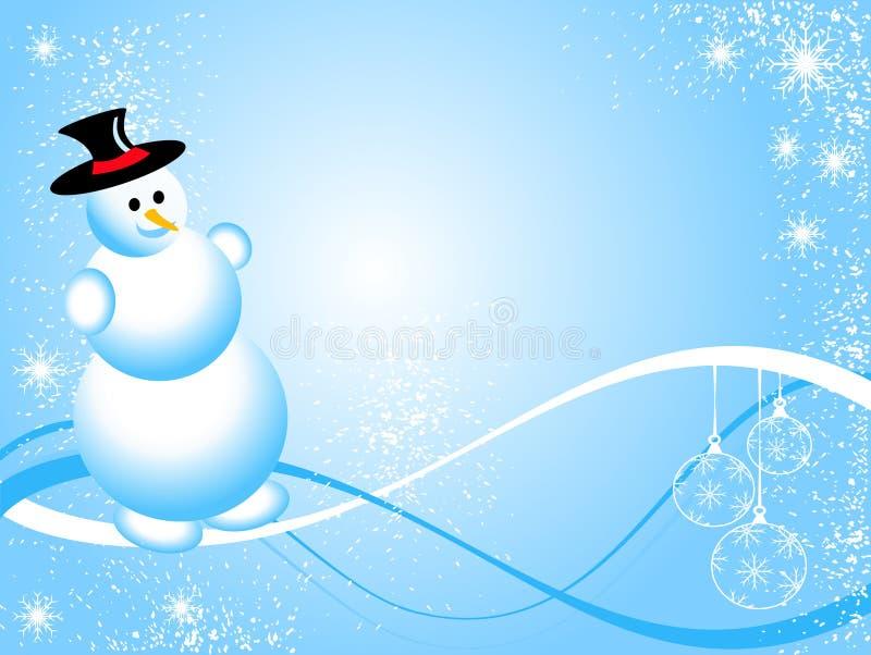 голубой снеговик рождества иллюстрация вектора