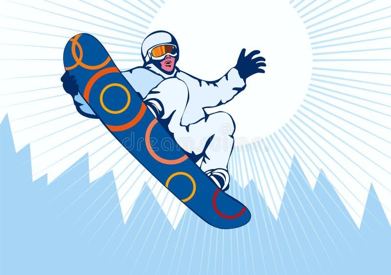 голубой сноубординг иллюстрация штока