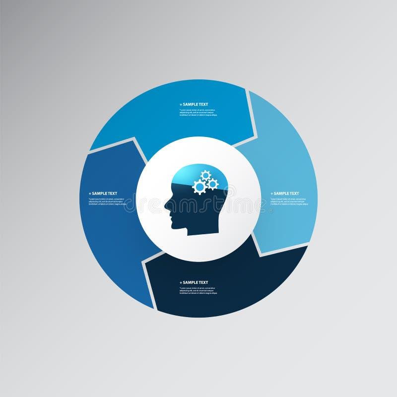 Голубой современный дизайн Infographics стиля с концепцией AI - долевой диограммой иллюстрация штока