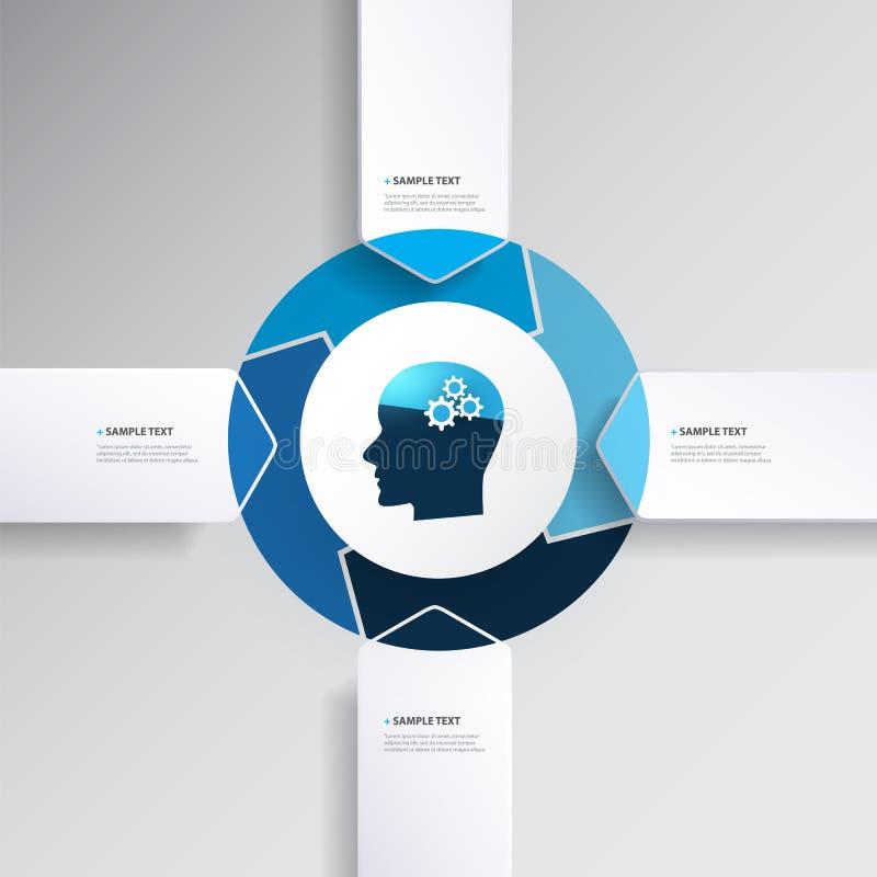 Голубой современный дизайн Infographics стиля с шаблоном диаграммы концепции AI с формами стрелки иллюстрация штока