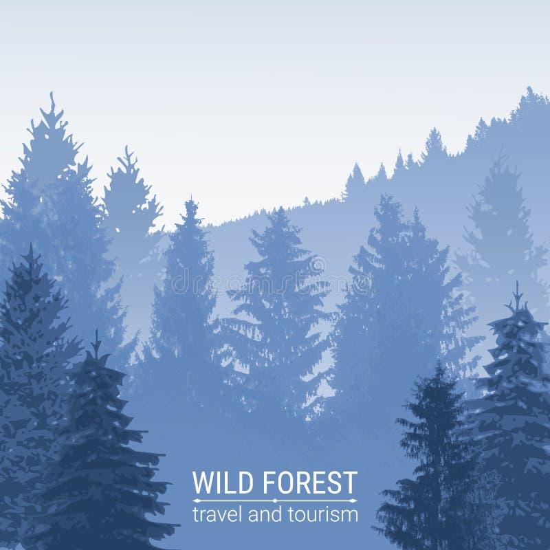 Голубой спрус в помохе тумана Дикий вектор леса Сосна и спрус на холмах иллюстрация штока