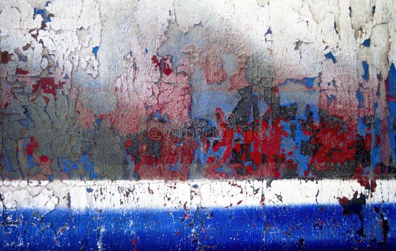 Голубой старой деревянной текстуры красный и белый шелушиться стоковые изображения