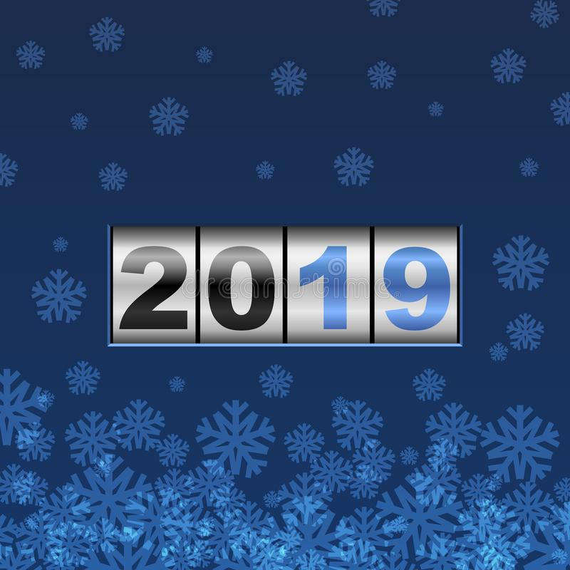 Голубой счетчик карточка 2019 Новых Годов иллюстрация вектора