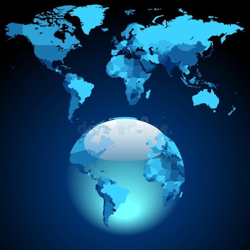 голубой темный мир карты глобуса иллюстрация штока
